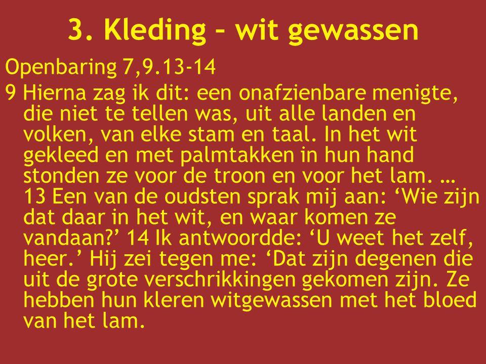Openbaring 7,9.13-14 9 Hierna zag ik dit: een onafzienbare menigte, die niet te tellen was, uit alle landen en volken, van elke stam en taal. In het w