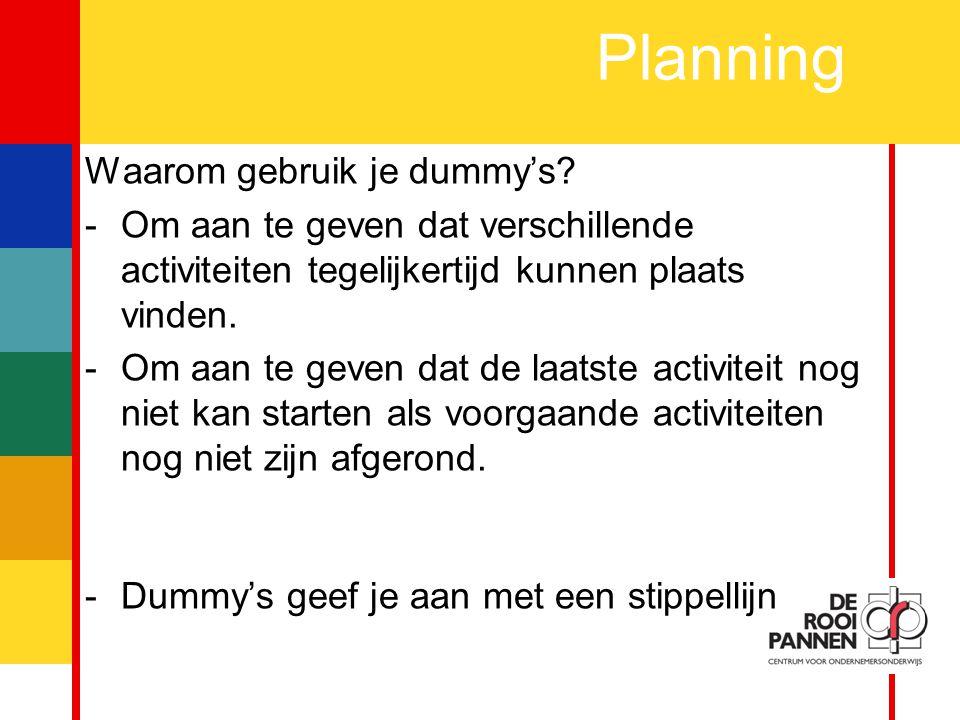 13 Planning Waarom gebruik je dummy's.