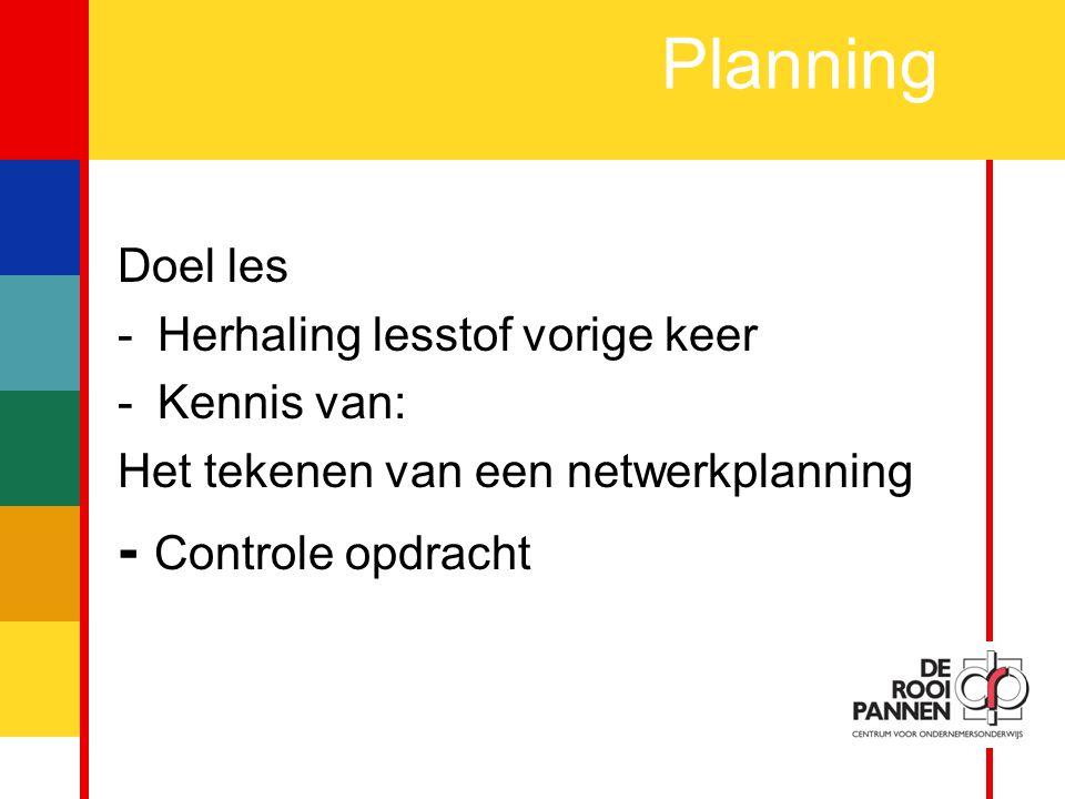 2 Doel les -Herhaling lesstof vorige keer -Kennis van: Het tekenen van een netwerkplanning - Controle opdracht