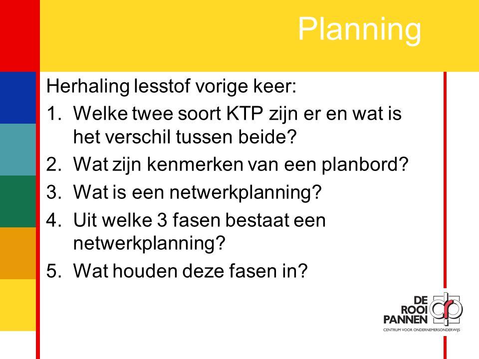 6 Planning Herhaling lesstof vorige keer: 1.Welke twee soort KTP zijn er en wat is het verschil tussen beide.