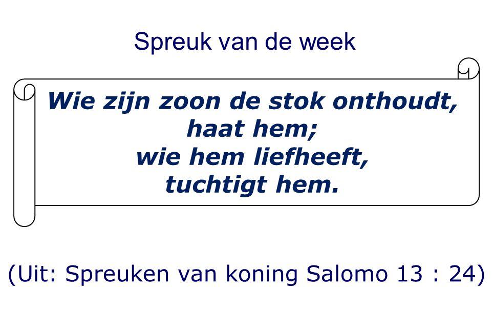 Spreuk van de week (Uit: Spreuken van koning Salomo 13 : 24) Wie zijn zoon de stok onthoudt, haat hem; wie hem liefheeft, tuchtigt hem.