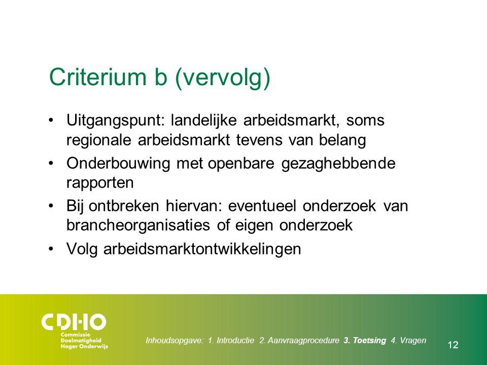 12 Criterium b (vervolg) Uitgangspunt: landelijke arbeidsmarkt, soms regionale arbeidsmarkt tevens van belang Onderbouwing met openbare gezaghebbende
