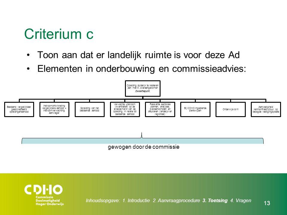 13 Criterium c Toon aan dat er landelijk ruimte is voor deze Ad Elementen in onderbouwing en commissieadvies: Opleiding duidelijk te relateren aan met