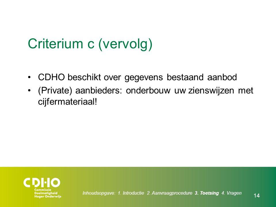 14 Criterium c (vervolg) CDHO beschikt over gegevens bestaand aanbod (Private) aanbieders: onderbouw uw zienswijzen met cijfermateriaal! Inhoudsopgave