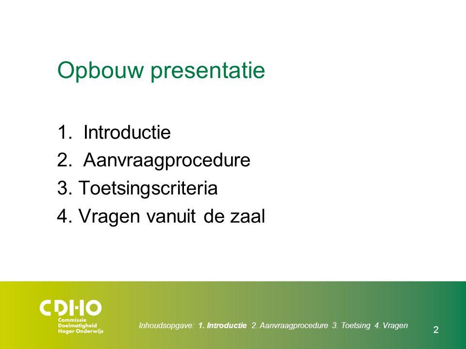 Opbouw presentatie 1.Introductie 2.Aanvraagprocedure 3. Toetsingscriteria 4. Vragen vanuit de zaal Inhoudsopgave: 1. Introductie 2. Aanvraagprocedure