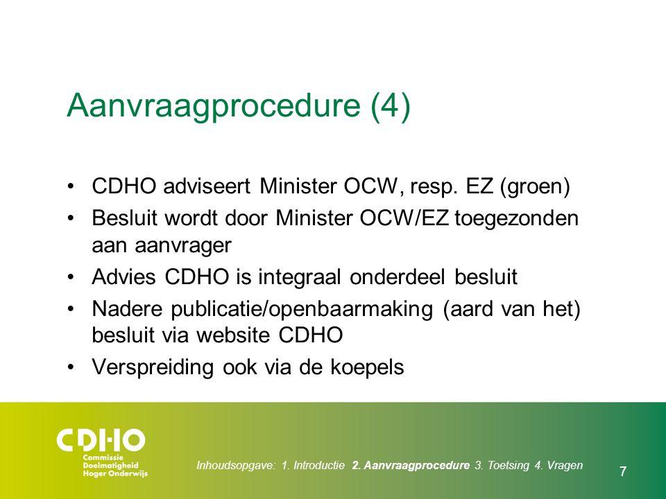 Inhoudsopgave: 1. Introductie 2. Aanvraagprocedure 3. Toetsing 4. Vragen 7 Aanvraagprocedure (4) CDHO adviseert Minister OCW, resp. EZ (groen) Besluit