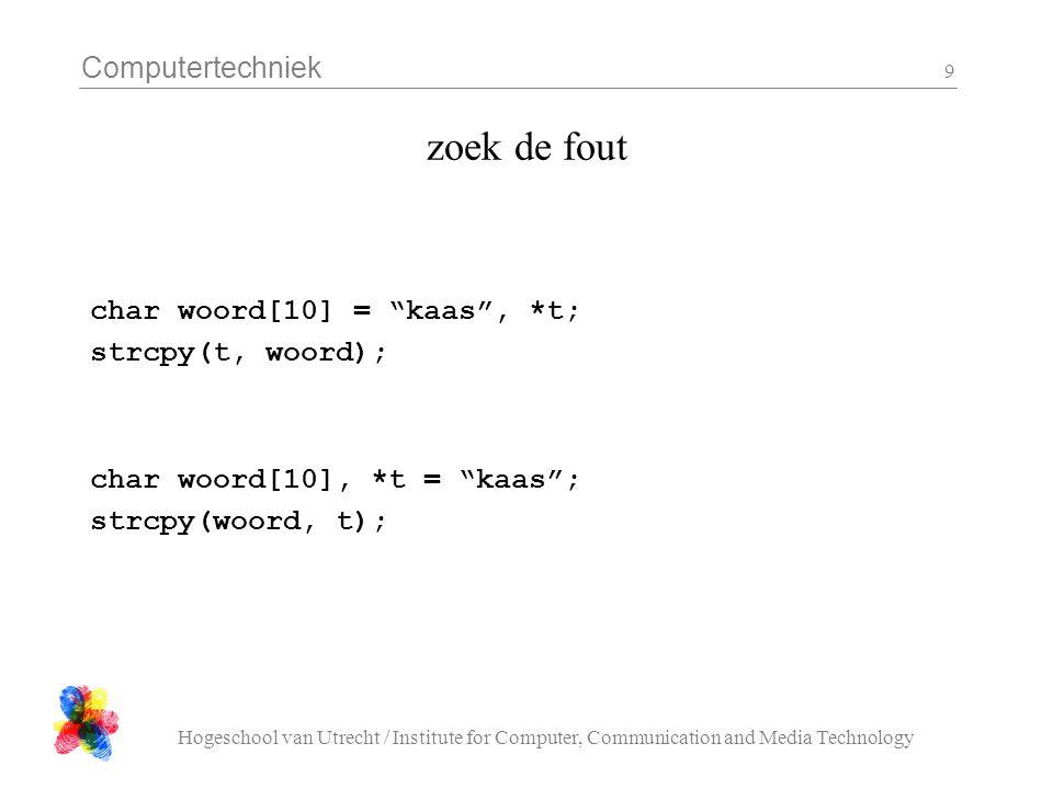 Computertechniek Hogeschool van Utrecht / Institute for Computer, Communication and Media Technology 10 Schrijf een functie die je kan gebruiken om de waarden van twee int variabelen te verwisselen.