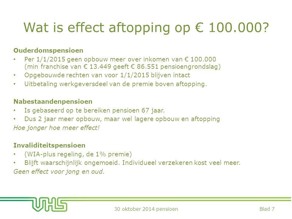 Wat is effect aftopping op € 100.000.