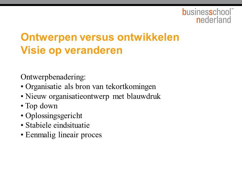 Ontwerpen versus ontwikkelen Visie op veranderen Ontwerpbenadering: Organisatie als bron van tekortkomingen Nieuw organisatieontwerp met blauwdruk Top