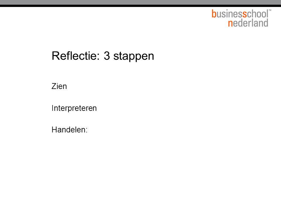 Reflectie: 3 stappen Zien Interpreteren Handelen: