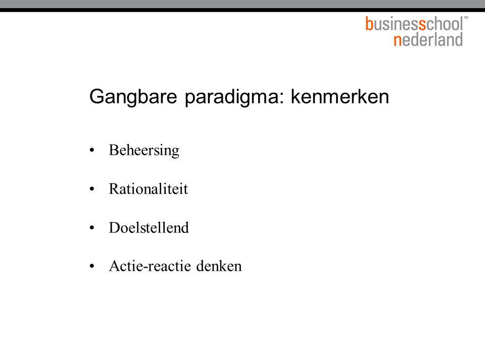 Gangbare paradigma: kenmerken Beheersing Rationaliteit Doelstellend Actie-reactie denken