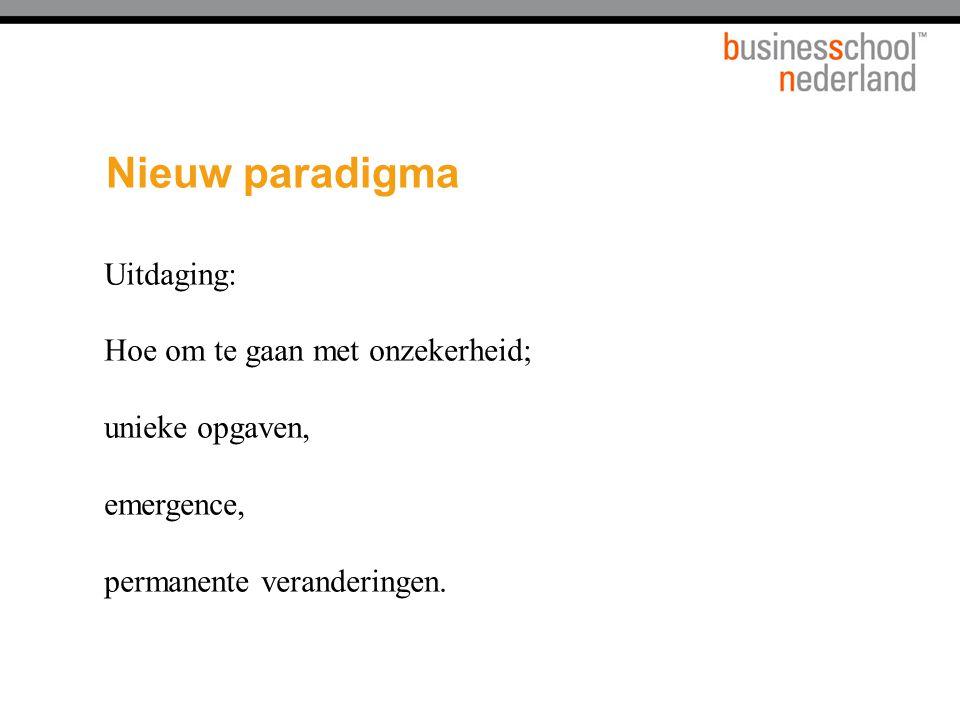 Nieuw paradigma Uitdaging: Hoe om te gaan met onzekerheid; unieke opgaven, emergence, permanente veranderingen.