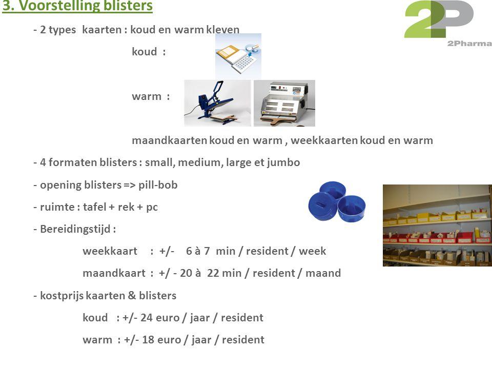 - 2 types kaarten : koud en warm kleven koud : warm : maandkaarten koud en warm, weekkaarten koud en warm - 4 formaten blisters : small, medium, large