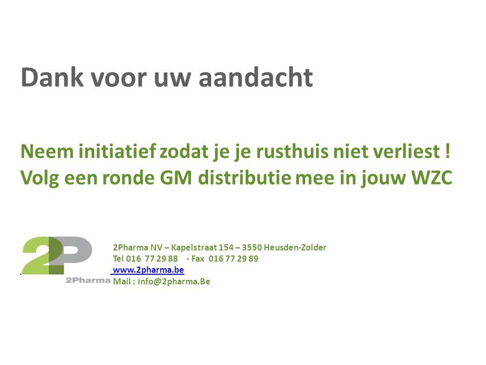 Dank voor uw aandacht Neem initiatief zodat je je rusthuis niet verliest ! Volg een ronde GM distributie mee in jouw WZC 2Pharma NV – Kapelstraat 154