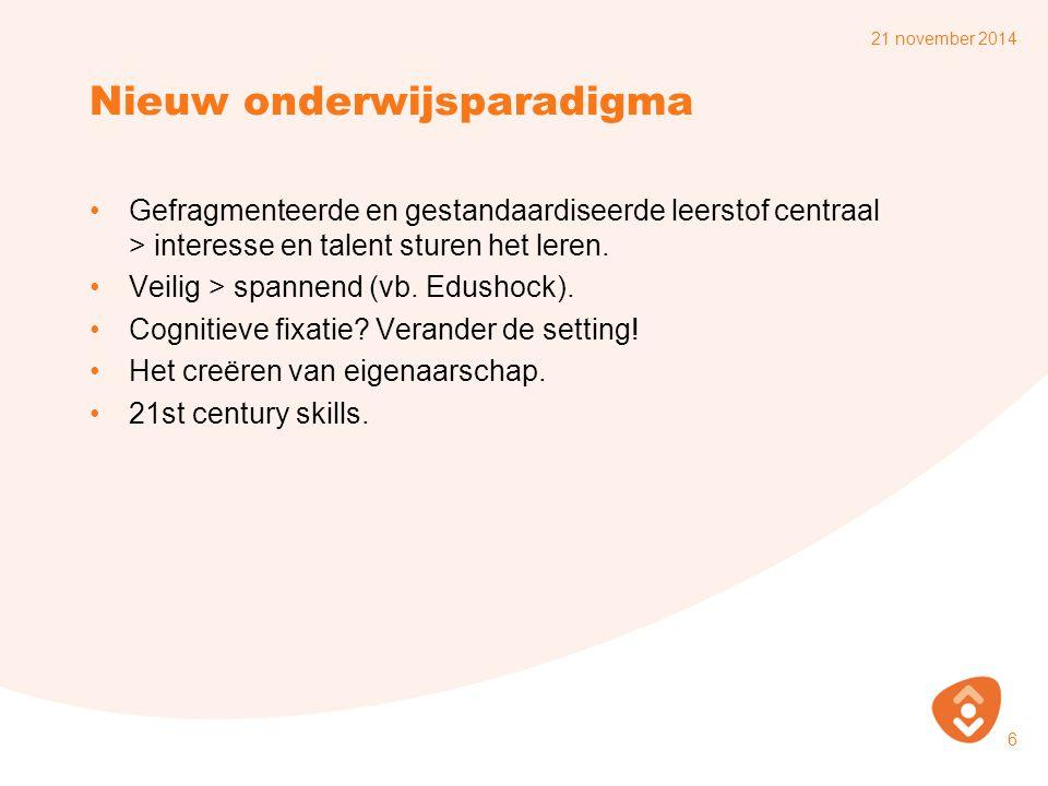 Nieuw onderwijsparadigma Gefragmenteerde en gestandaardiseerde leerstof centraal > interesse en talent sturen het leren.