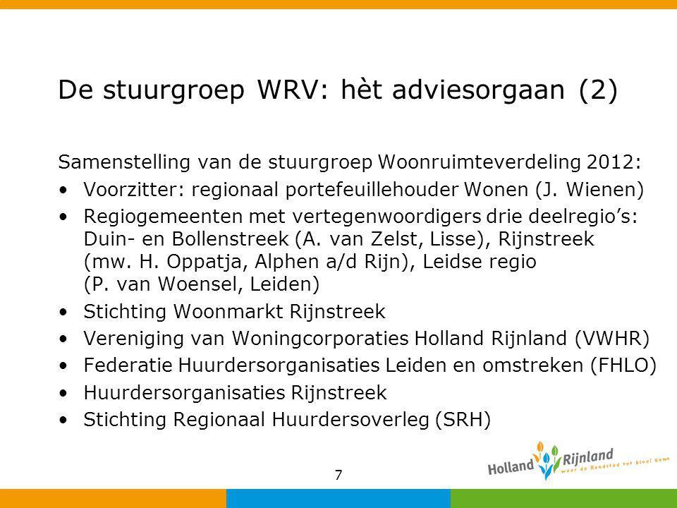 7 De stuurgroep WRV: hèt adviesorgaan (2) Samenstelling van de stuurgroep Woonruimteverdeling 2012: Voorzitter: regionaal portefeuillehouder Wonen (J.