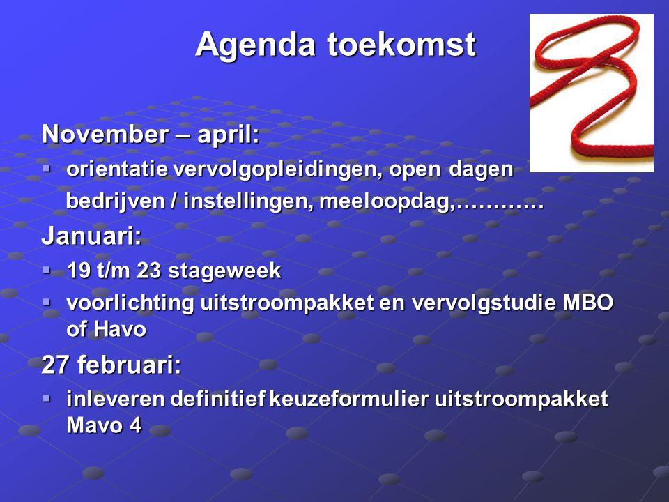 Agenda toekomst November – april:  orientatie vervolgopleidingen, open dagen bedrijven / instellingen, meeloopdag,………… bedrijven / instellingen, meel
