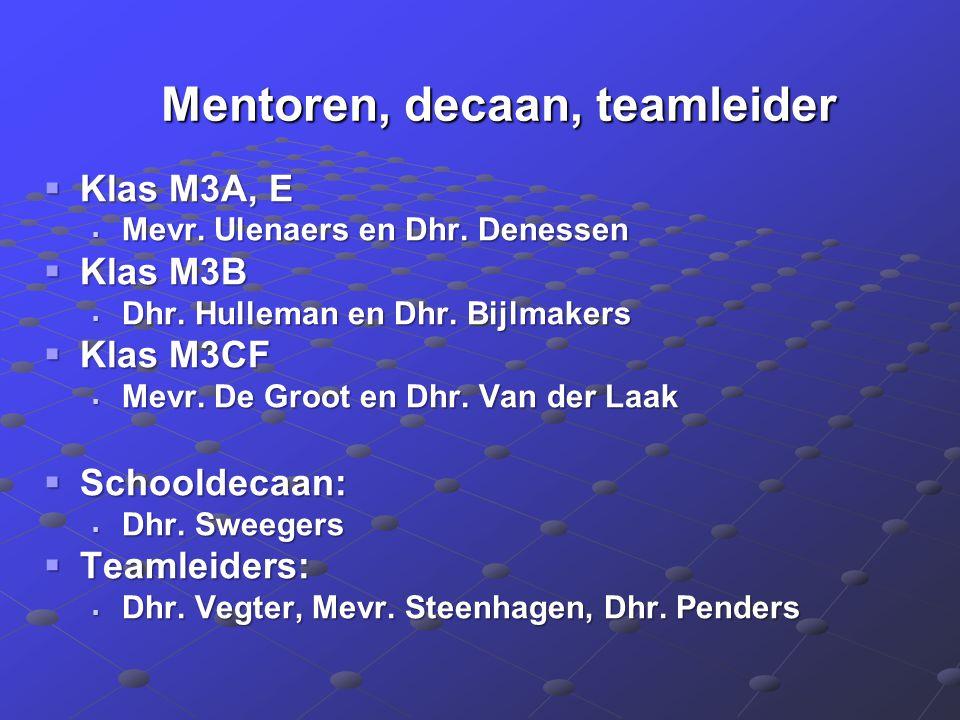 Mentoren, decaan, teamleider Mentoren, decaan, teamleider  Klas M3A, E  Mevr. Ulenaers en Dhr. Denessen  Klas M3B  Dhr. Hulleman en Dhr. Bijlmaker