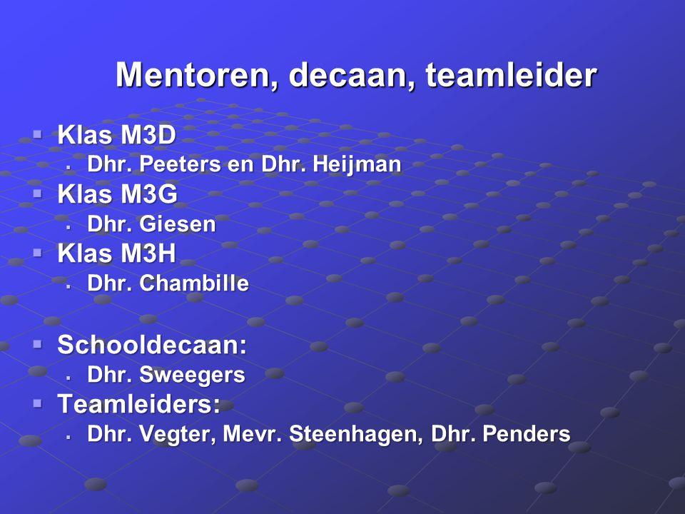 Mentoren, decaan, teamleider Mentoren, decaan, teamleider  Klas M3D  Dhr. Peeters en Dhr. Heijman  Klas M3G  Dhr. Giesen  Klas M3H  Dhr. Chambil