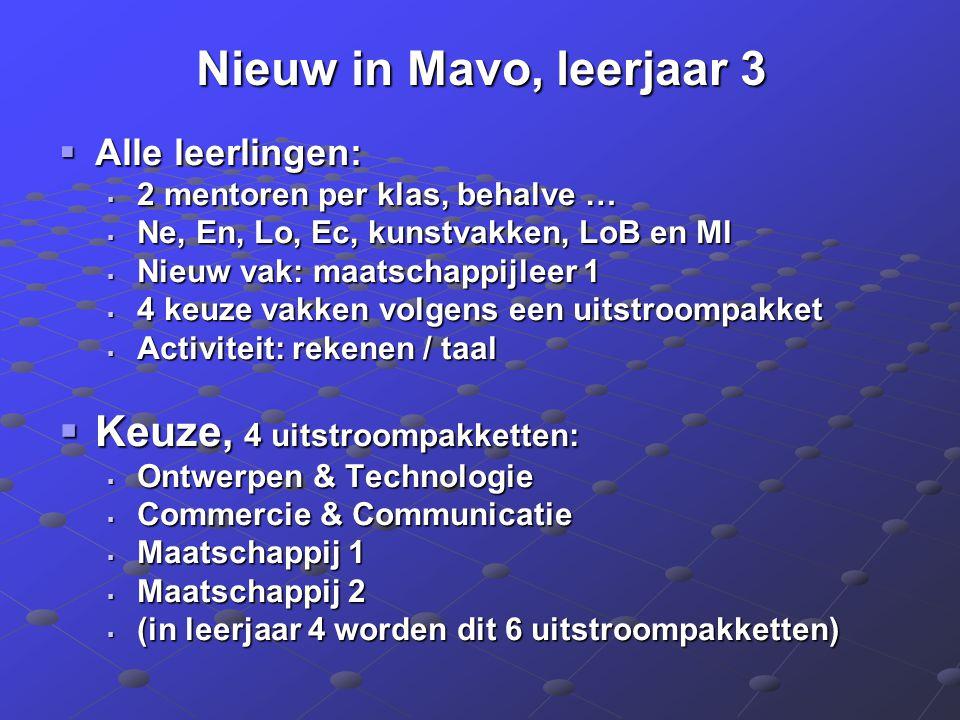Nieuw in Mavo, leerjaar 3  Alle leerlingen:  2 mentoren per klas, behalve …  Ne, En, Lo, Ec, kunstvakken, LoB en Ml  Nieuw vak: maatschappijleer 1