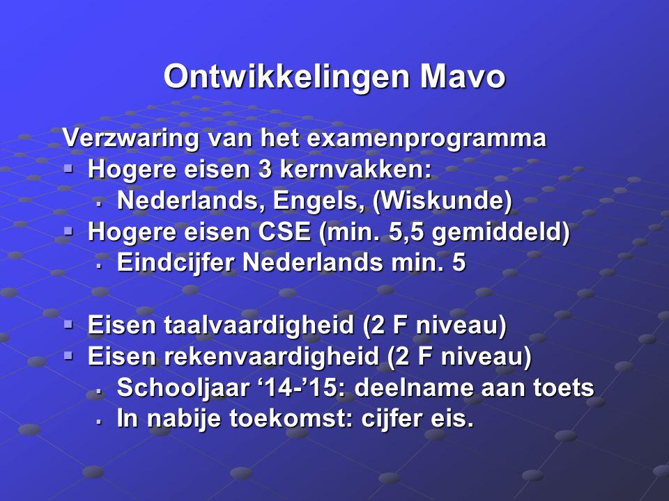Ontwikkelingen Mavo Verzwaring van het examenprogramma  Hogere eisen 3 kernvakken:  Nederlands, Engels, (Wiskunde)  Hogere eisen CSE (min. 5,5 gemi