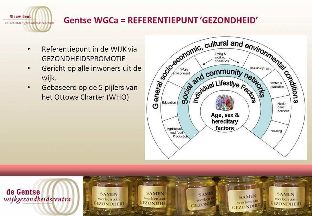 UGC NIEUW GENT Referentiepunt in de WIJK via GEZONDHEIDSPROMOTIE Gericht op alle inwoners uit de wijk. Gebaseerd op de 5 pijlers van het Ottowa Charte