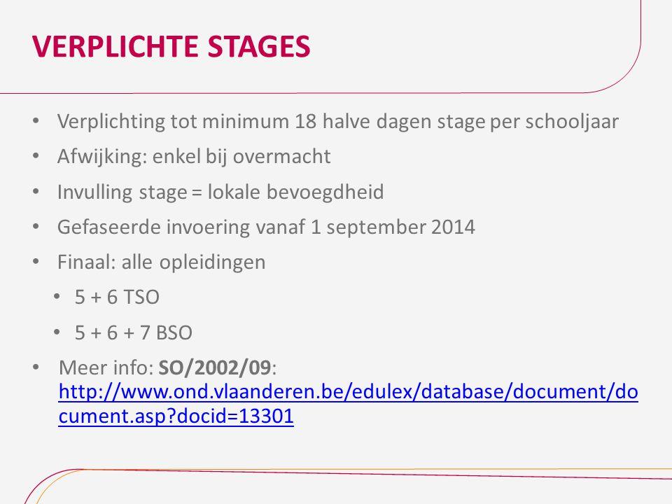 VERPLICHTE STAGES Verplichting tot minimum 18 halve dagen stage per schooljaar Afwijking: enkel bij overmacht Invulling stage = lokale bevoegdheid Gef