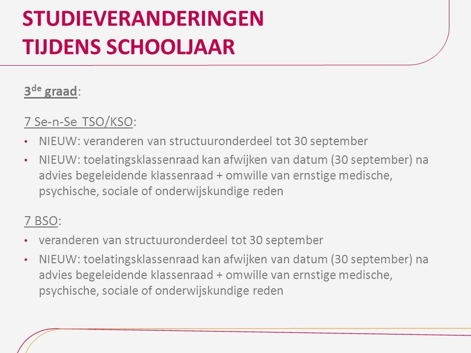 STUDIEVERANDERINGEN TIJDENS SCHOOLJAAR 3 de graad: 7 Se-n-Se TSO/KSO: NIEUW: veranderen van structuuronderdeel tot 30 september NIEUW: toelatingsklass