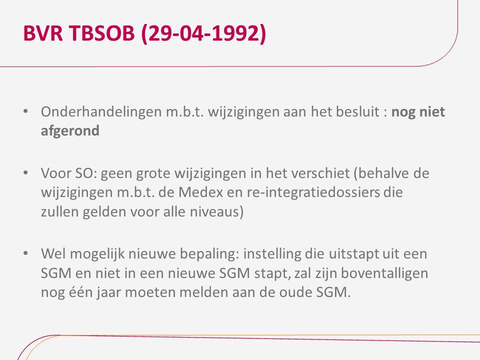 BVR TBSOB (29-04-1992) Onderhandelingen m.b.t. wijzigingen aan het besluit : nog niet afgerond Voor SO: geen grote wijzigingen in het verschiet (behal