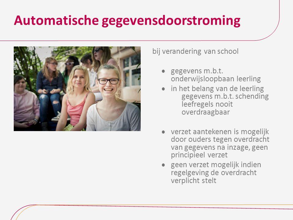 Automatische gegevensdoorstroming bij verandering van school  gegevens m.b.t. onderwijsloopbaan leerling  in het belang van de leerling gegevens m.b