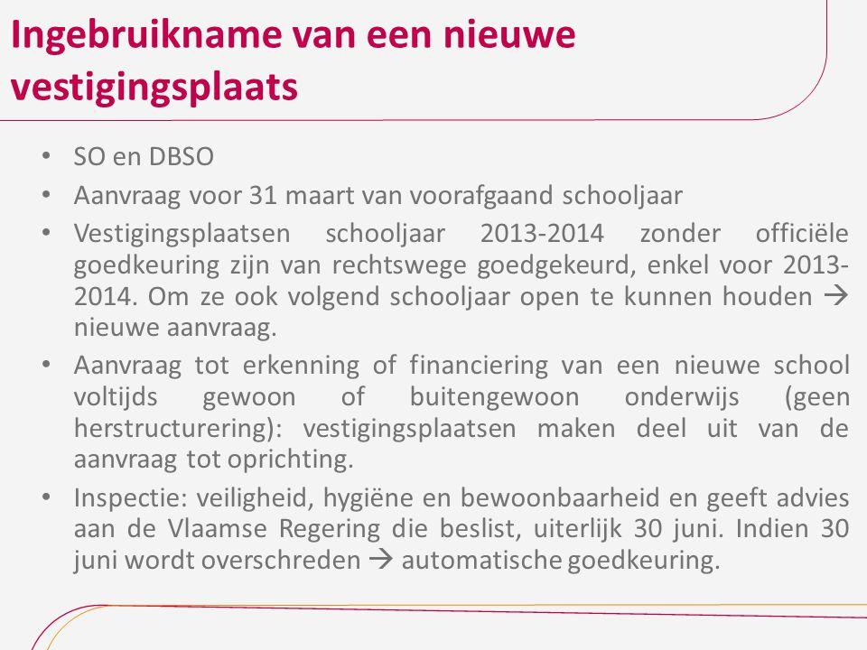 Ingebruikname van een nieuwe vestigingsplaats SO en DBSO Aanvraag voor 31 maart van voorafgaand schooljaar Vestigingsplaatsen schooljaar 2013-2014 zon