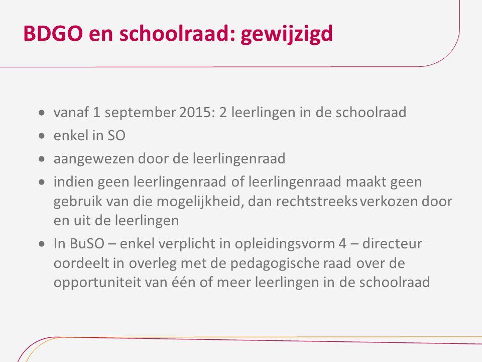 BDGO en schoolraad: gewijzigd  vanaf 1 september 2015: 2 leerlingen in de schoolraad  enkel in SO  aangewezen door de leerlingenraad  indien geen