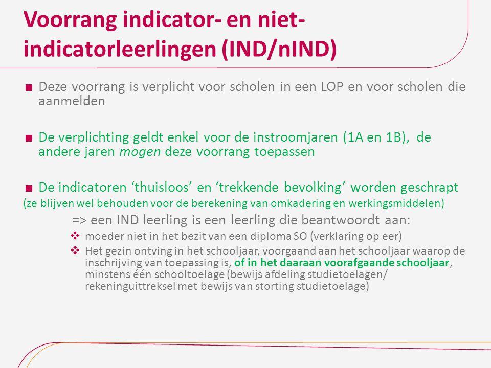 Voorrang indicator- en niet- indicatorleerlingen (IND/nIND)  Deze voorrang is verplicht voor scholen in een LOP en voor scholen die aanmelden  De ve