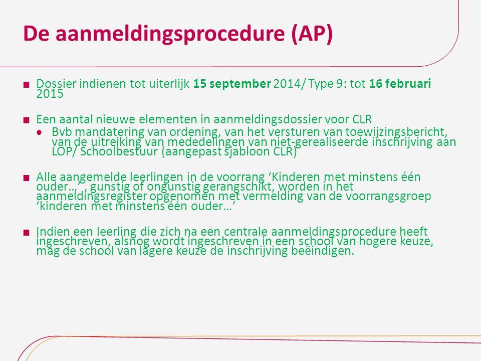 De aanmeldingsprocedure (AP)  Dossier indienen tot uiterlijk 15 september 2014/ Type 9: tot 16 februari 2015  Een aantal nieuwe elementen in aanmeld