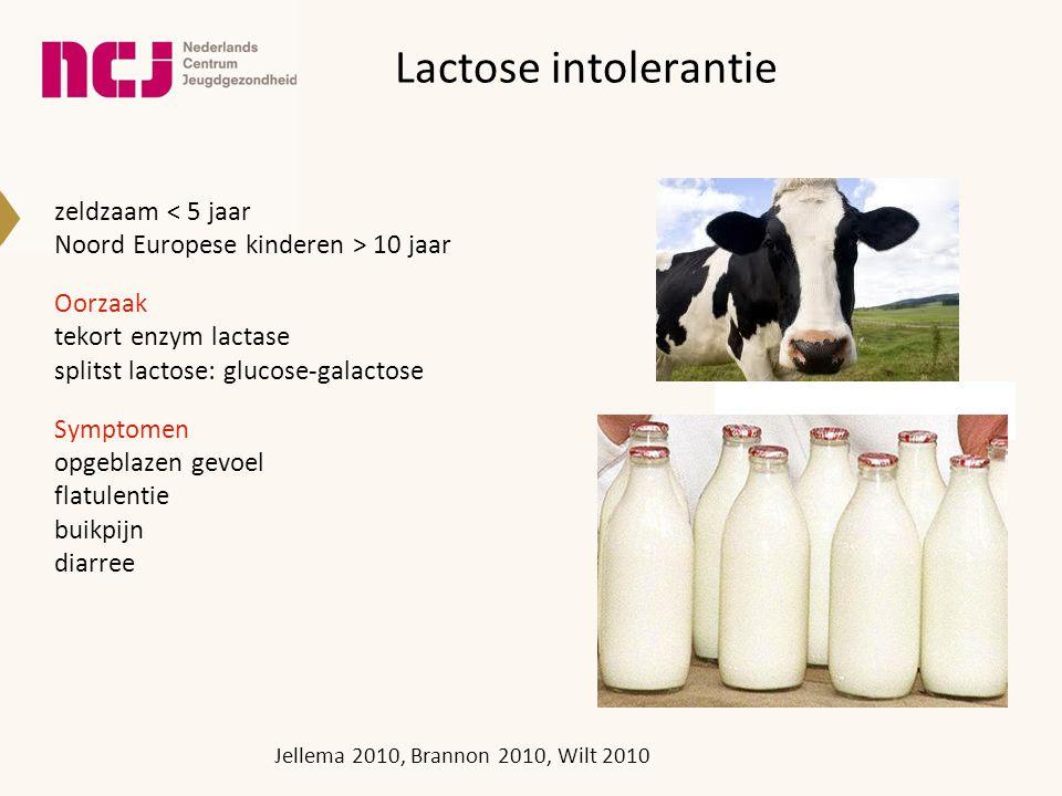 Lactose intolerantie zeldzaam < 5 jaar Noord Europese kinderen > 10 jaar Oorzaak tekort enzym lactase splitst lactose: glucose-galactose Symptomen opgeblazen gevoel flatulentie buikpijn diarree Jellema 2010, Brannon 2010, Wilt 2010