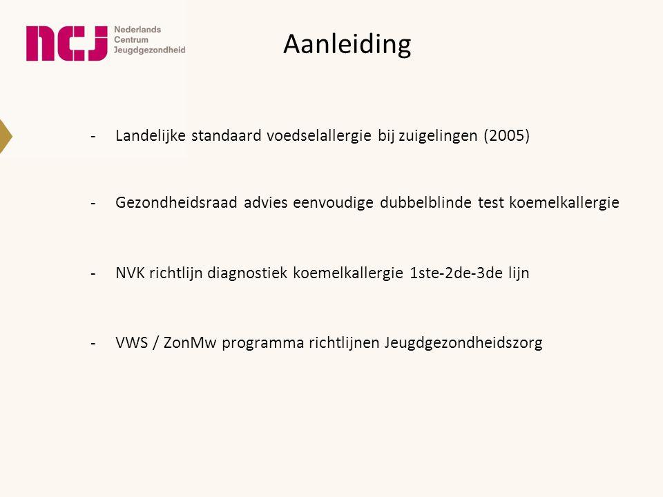 Aanleiding -Landelijke standaard voedselallergie bij zuigelingen (2005) -Gezondheidsraad advies eenvoudige dubbelblinde test koemelkallergie -NVK rich
