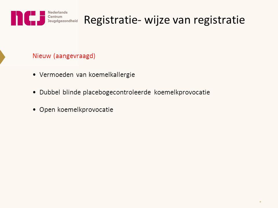 Registratie- wijze van registratie Nieuw (aangevraagd) Vermoeden van koemelkallergie Dubbel blinde placebogecontroleerde koemelkprovocatie Open koemel