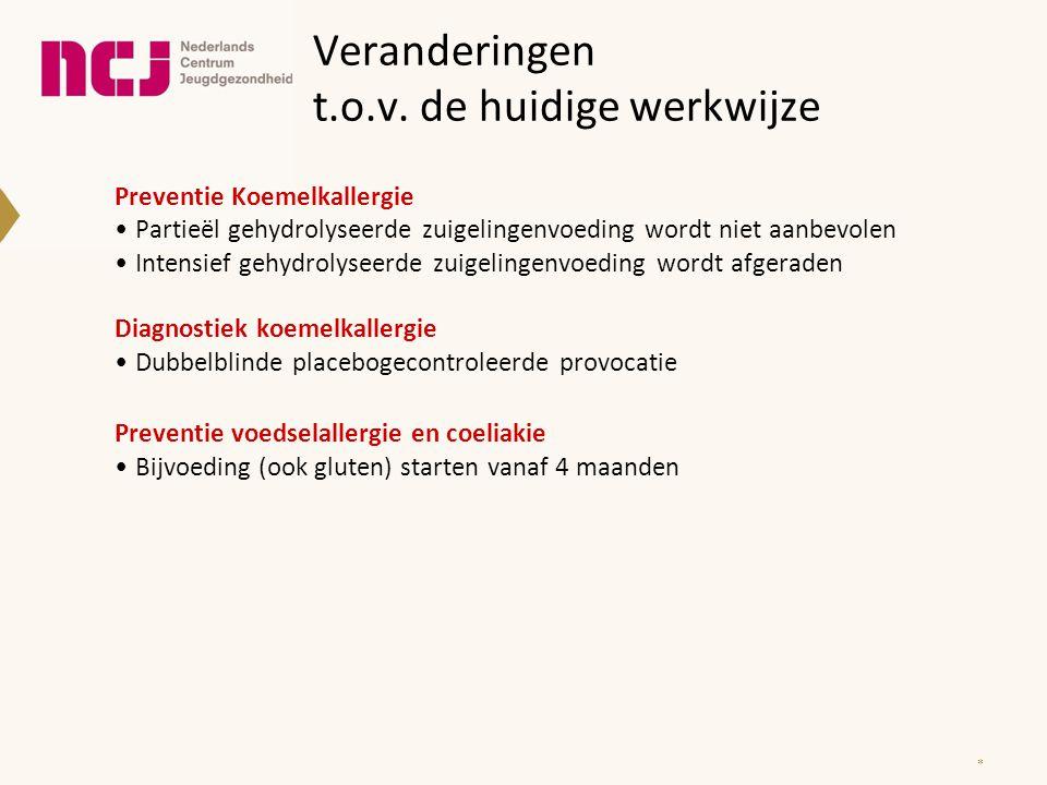 Veranderingen t.o.v. de huidige werkwijze Preventie Koemelkallergie Partieël gehydrolyseerde zuigelingenvoeding wordt niet aanbevolen Intensief gehydr