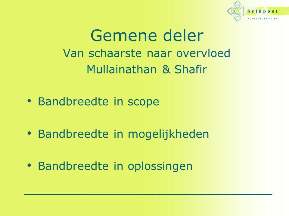 Gemene deler Van schaarste naar overvloed Mullainathan & Shafir Bandbreedte in scope Bandbreedte in mogelijkheden Bandbreedte in oplossingen