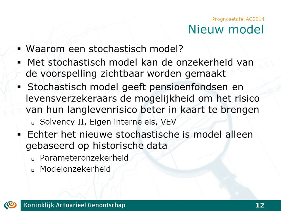 Prognosetafel AG2014 Nieuw model  Waarom een stochastisch model?  Met stochastisch model kan de onzekerheid van de voorspelling zichtbaar worden gem