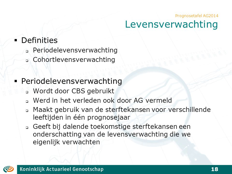 Prognosetafel AG2014 Levensverwachting  Definities  Periodelevensverwachting  Cohortlevensverwachting  Periodelevensverwachting  Wordt door CBS g