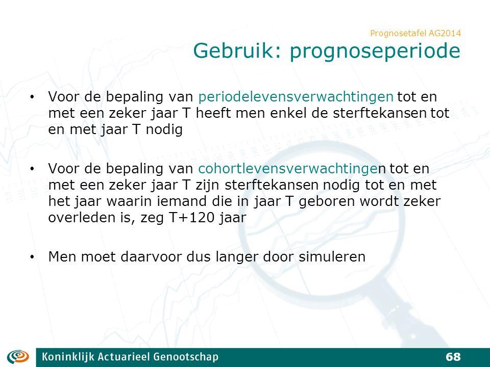 Prognosetafel AG2014 Gebruik: prognoseperiode Voor de bepaling van periodelevensverwachtingen tot en met een zeker jaar T heeft men enkel de sterfteka