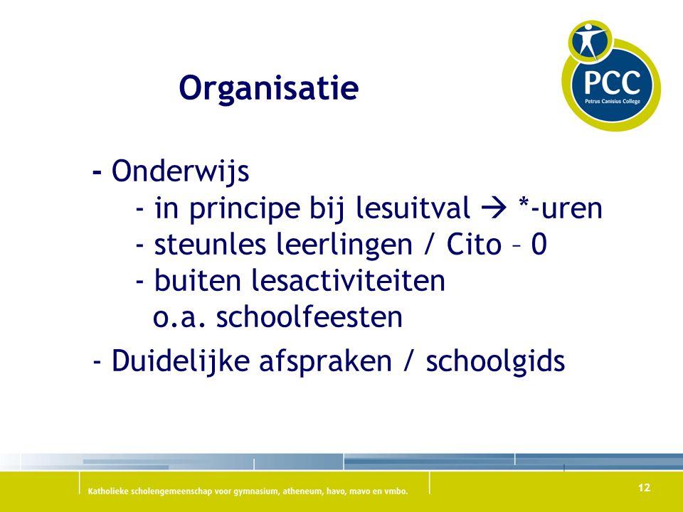 12 Organisatie - Onderwijs - in principe bij lesuitval  *-uren - steunles leerlingen / Cito – 0 - buiten lesactiviteiten o.a. schoolfeesten - Duideli