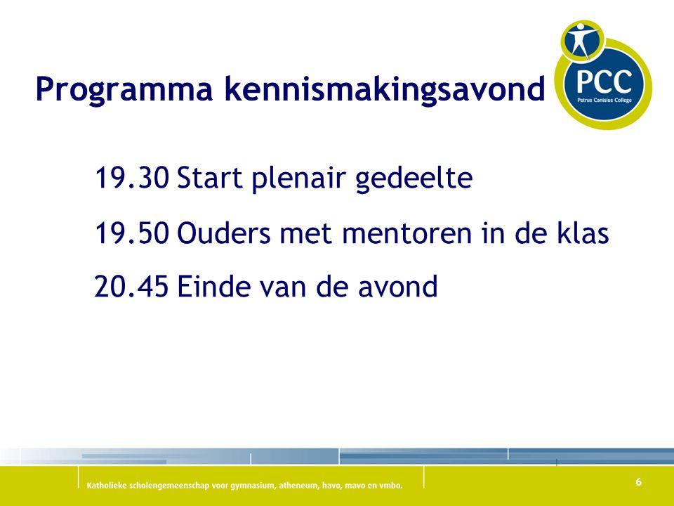 6 19.30 Start plenair gedeelte 19.50 Ouders met mentoren in de klas 20.45 Einde van de avond Programma kennismakingsavond