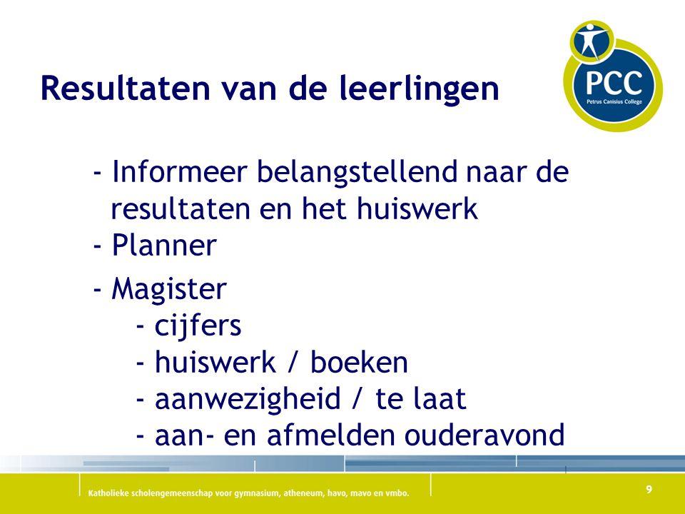 9 Resultaten van de leerlingen - Informeer belangstellend naar de resultaten en het huiswerk - Planner - Magister - cijfers - huiswerk / boeken - aanw
