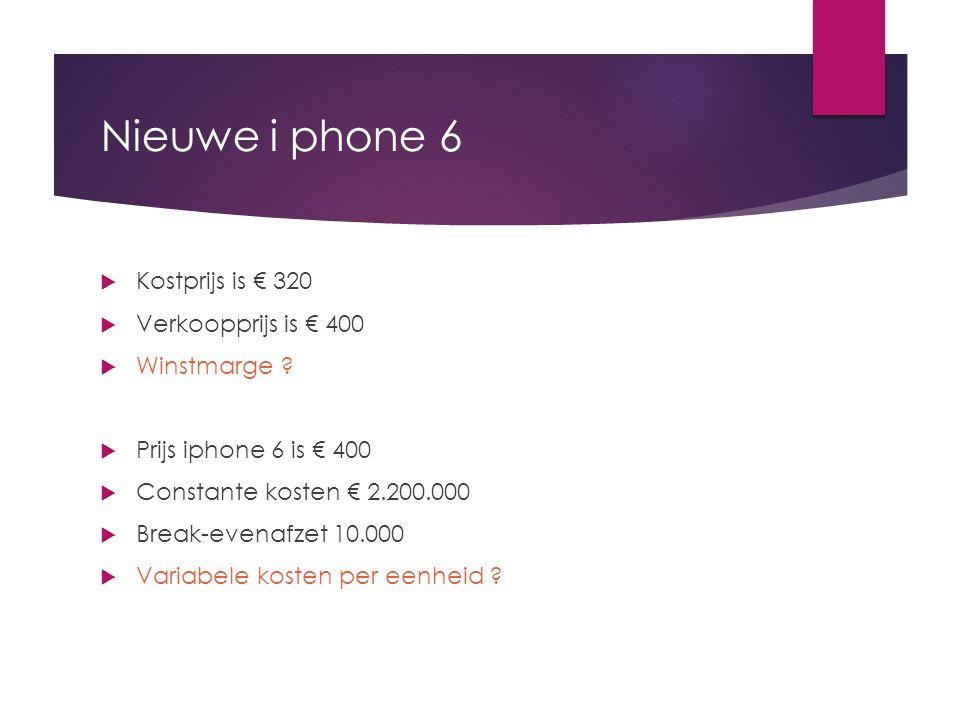 Nieuwe i phone 6  Kostprijs is € 320  Verkoopprijs is € 400  Winstmarge ?  Prijs iphone 6 is € 400  Constante kosten € 2.200.000  Break-evenafze