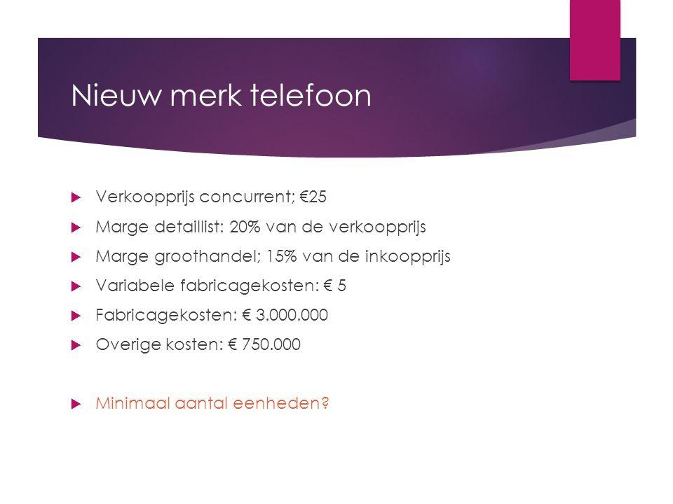 Nieuw merk telefoon  Verkoopprijs concurrent; €25  Marge detaillist: 20% van de verkoopprijs  Marge groothandel; 15% van de inkoopprijs  Variabele