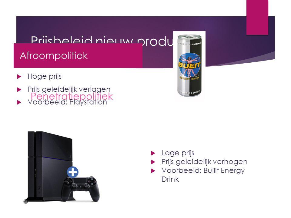 Prijsbeleid nieuw product Penetratiepolitiek  Hoge prijs  Prijs geleidelijk verlagen  Voorbeeld: Playstation  Lage prijs  Prijs geleidelijk verho