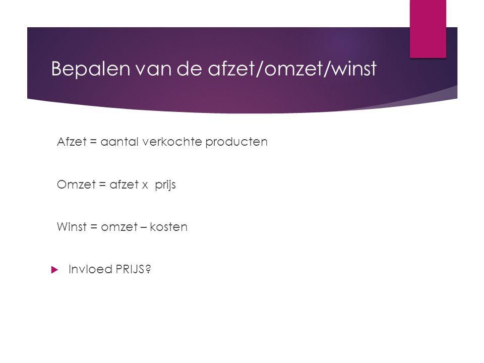 Bepalen van de afzet/omzet/winst Afzet = aantal verkochte producten Omzet = afzet x prijs Winst = omzet – kosten  Invloed PRIJS?