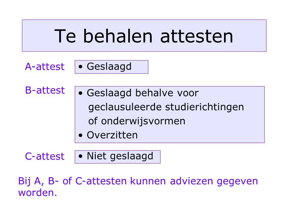 Te behalen attesten A-attest Geslaagd B-attest Geslaagd behalve voor geclausuleerde studierichtingen of onderwijsvormen Overzitten C-attest Niet geslaagd Bij A, B- of C-attesten kunnen adviezen gegeven worden.
